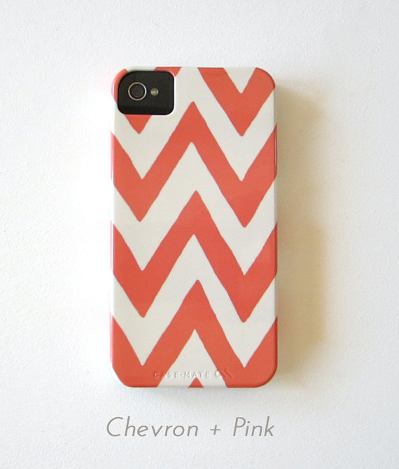 Chevron IPhone 4/4s case Choose your Color Pattern Geometric Arrows Modern Tribal pink orange blue gray