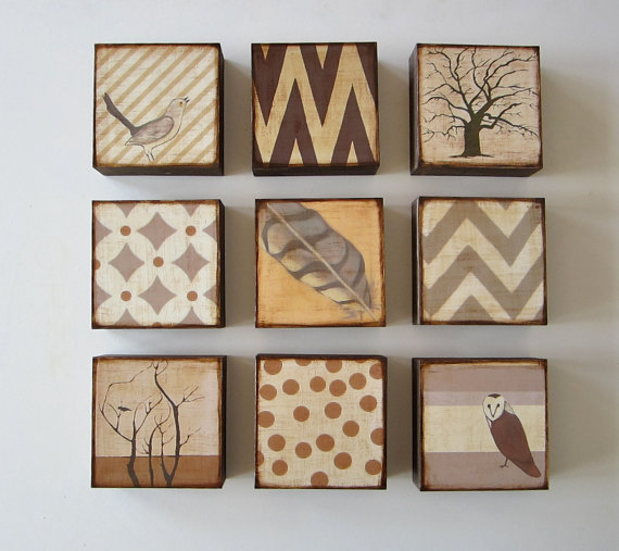Art Block 5x5 Nine 9 Set Nature and Pattern Collection neutral gray beige brown rust orange Free Shipping 5x5 Geometric redtilestudio wood